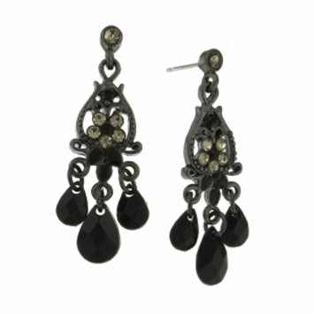 1928 Jewelry Diamond Chandelier Earrings, Jet Black, 1 pr