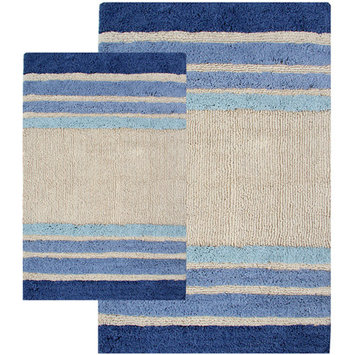 Chesapeake Merchandising Inc. 2-Piece Tuxedo Stripe Bath Rug Set, Blue