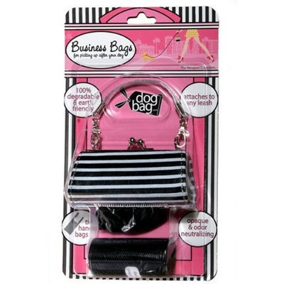 Doggie Walk Bags 2-Roll Newport Bag, Black/White Stripe
