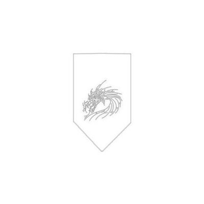 Ahi Dragon Rhinestone Bandana White Small
