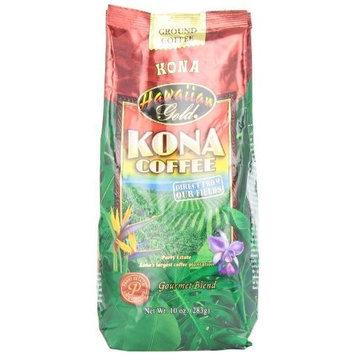 Kona Hawaiian Gold Kona Coffee, Gourmet Blend Ground Coffee, 10-Ounce (Pack of 3)