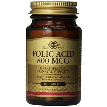 Solgar Folic Acid Tablets, 800 mcg, 100 Count