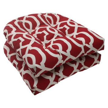 Pillow Perfect Outdoor 2-Piece Wicker Seat Cushion Set - Red/White Geometric
