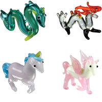 BrainStorm Looking Glass Miniature Glass Figurines, 4-Pack, Sea Serpent/Fire Dragon/Unicorn/Pegasus