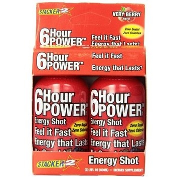Stacker 6 Hour Power Energy Shot Bottles, Very Berry, 2-Count Boxes (Pack of 6)