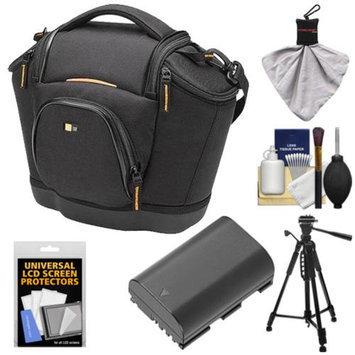 Case Logic Digital SLR Medium Shoulder Camera Bag/Case (Black) (SLRC-202) + LP-E6 Battery + Tripod + Accessory Kit for Canon EOS 5D Mark II III, 60D, 60Da & 7D