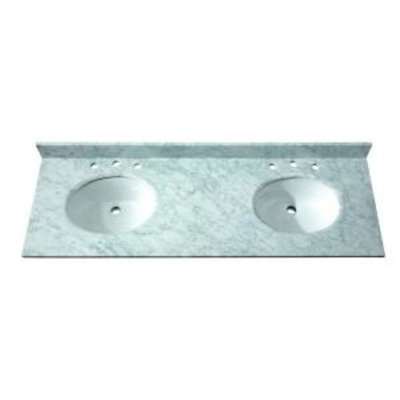 Avanity 61 in. Marble Stone Vanity Top in Carrara White without Basin