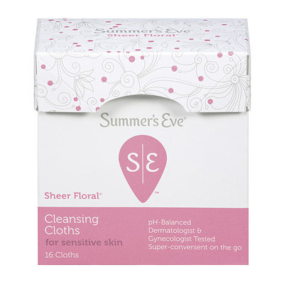Sunbeam Summer's Eve Feminine Cleansing Cloths For Sensitive Skin With Sheer Floral Scent