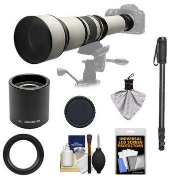Rokinon 650-1300mm f/8-16 Telephoto Zoom Lens with 2x Teleconverter (=650-2600mm) + Monopod Kit for Nikon D3100, D3200, D5100, D7000, D700, D800, D4 Digital SLR Cameras