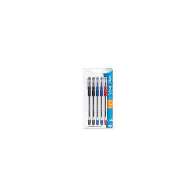 Ballpoint Pen, Fine Point, 5/PK, 2 Black/2 Blue/1 Red