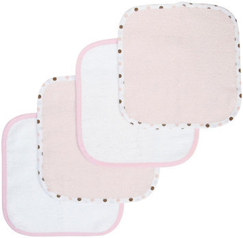 American Baby Company Organic Terry Wash Cloth Of 4 - Pink
