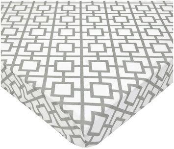 American Baby Company 100% Cotton Percale Fitted Mini Crib Sheet- Gray Lattice - 1 ct.