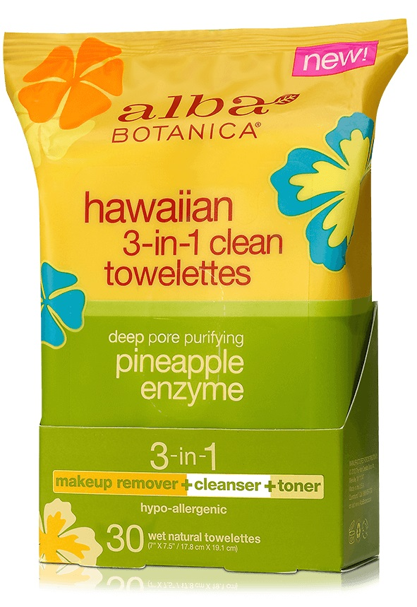 Alba Botanica Hawaiian 3-in-1 Clean Towelettes Deep Pore Purifying Pineapple Enzyme