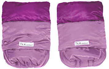 7 A.M. Enfant Handmuffs Warmmuffs Fleece Lined In Pink/Grape