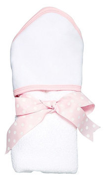 AM PM Kids White with Pink Trim Hooded Towel