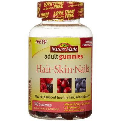 Nature Made Adult Gummies Hair-Skin-Nails Mixed Berry Cranberry & Blueberry 90 Gummies