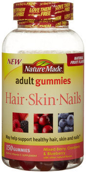 Nature Made Hair Skin Nails Adult Gummies Mixed Berry Cranberry & Blueberry 150 Gummies