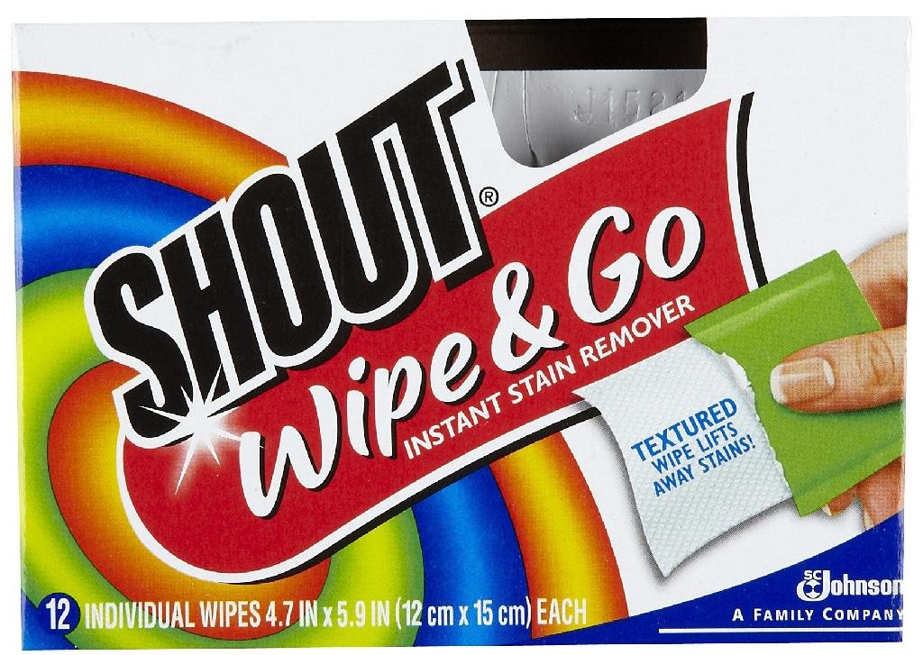 Shout Laundry Supplies Multi-Purpose Instant Stain Remover Wipes (12-Pack) 02246