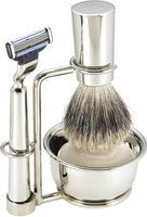 Swissco 5-Piece Shave Set, Nickel, Badger, Mach 3, Bowl & Soap, 19.8 oz Box