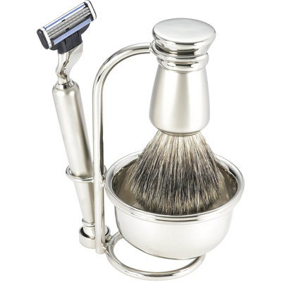 Swissco 5-Piece Shave Set, Brushed Nickel, Badger, Mach 3 with Soap, 22.2 oz Box