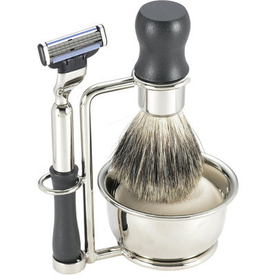 Swissco 5-Piece Shave Set, Black, Badger, Mach 3 with Soap, 14.6 oz Box