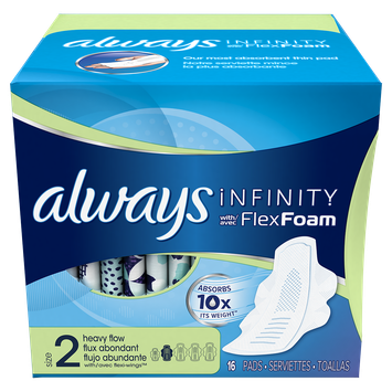 Always® Infinity™ Size 2 Super Pads with Wings, Unscented