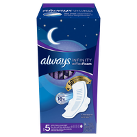 Always Infinity Size 5 Extra Heavy Overnight Pads with Wings Unscented