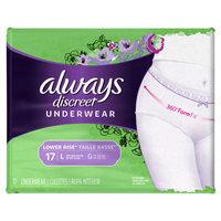 Always Discreet Moderate Lower Rise Underwear - Large