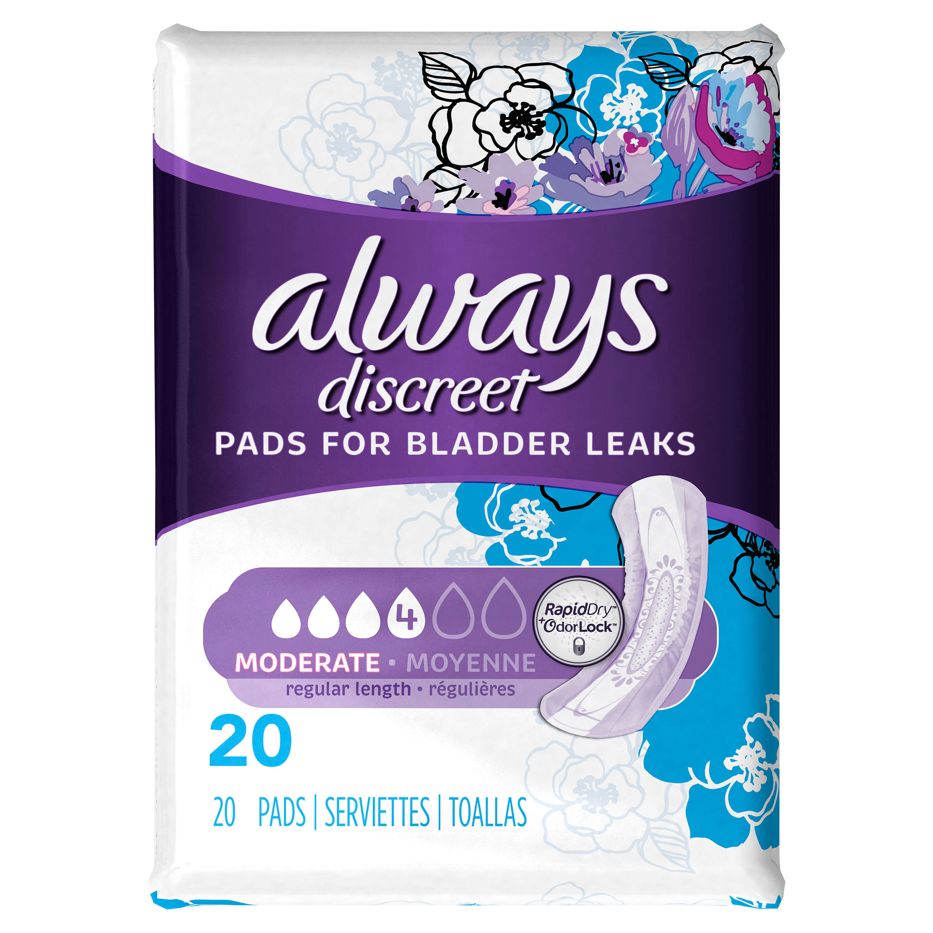 Always Discreet Moderate Pads - Regular Length