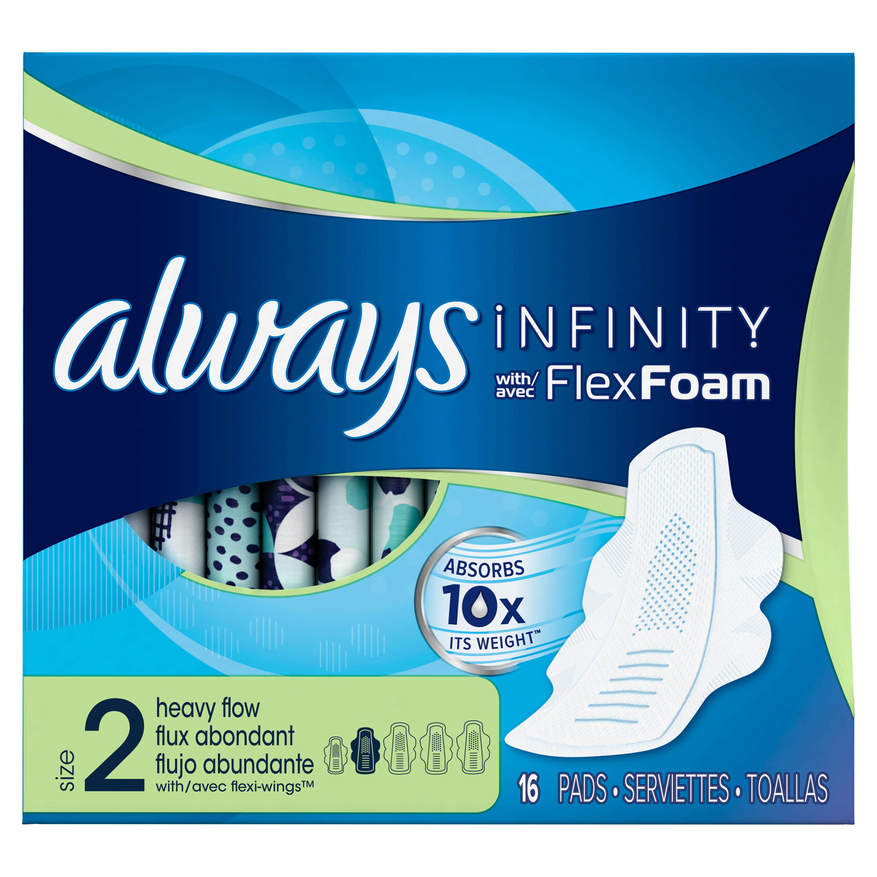 Always Infinity Size 2 Super Pads with Wings Unscented