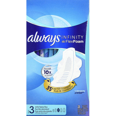 Always Infinity Size 3 Extra Heavy Flow Pads with Wings Unscented