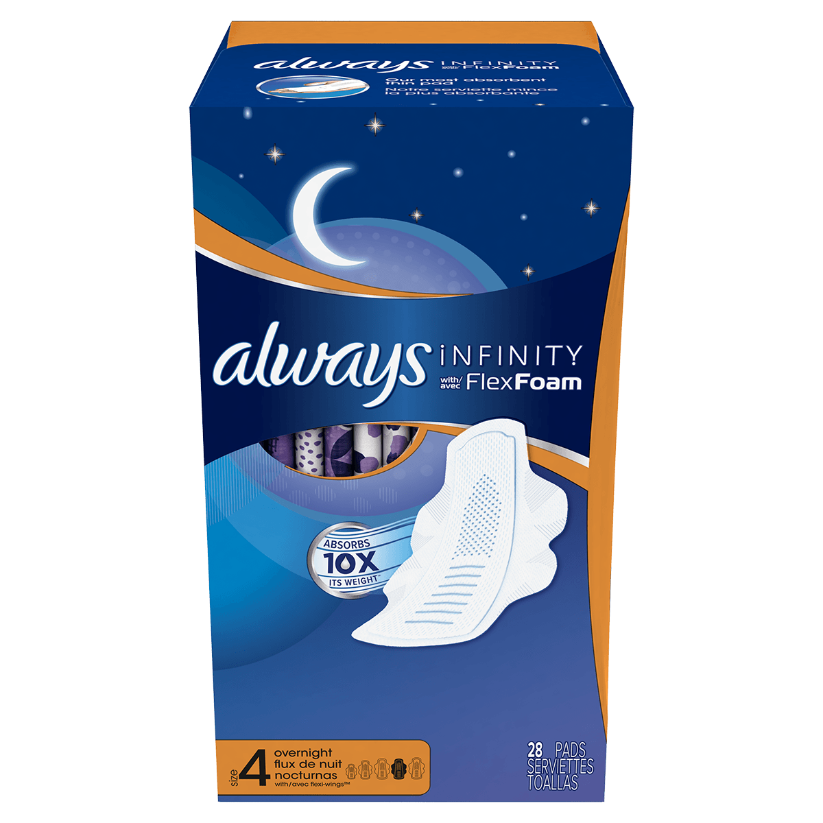 Always Infinity Size 4 Overnight Pads with Wings Unscented