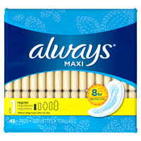 Always Maxi Size 1 Regular Pads Without Wings Unscented