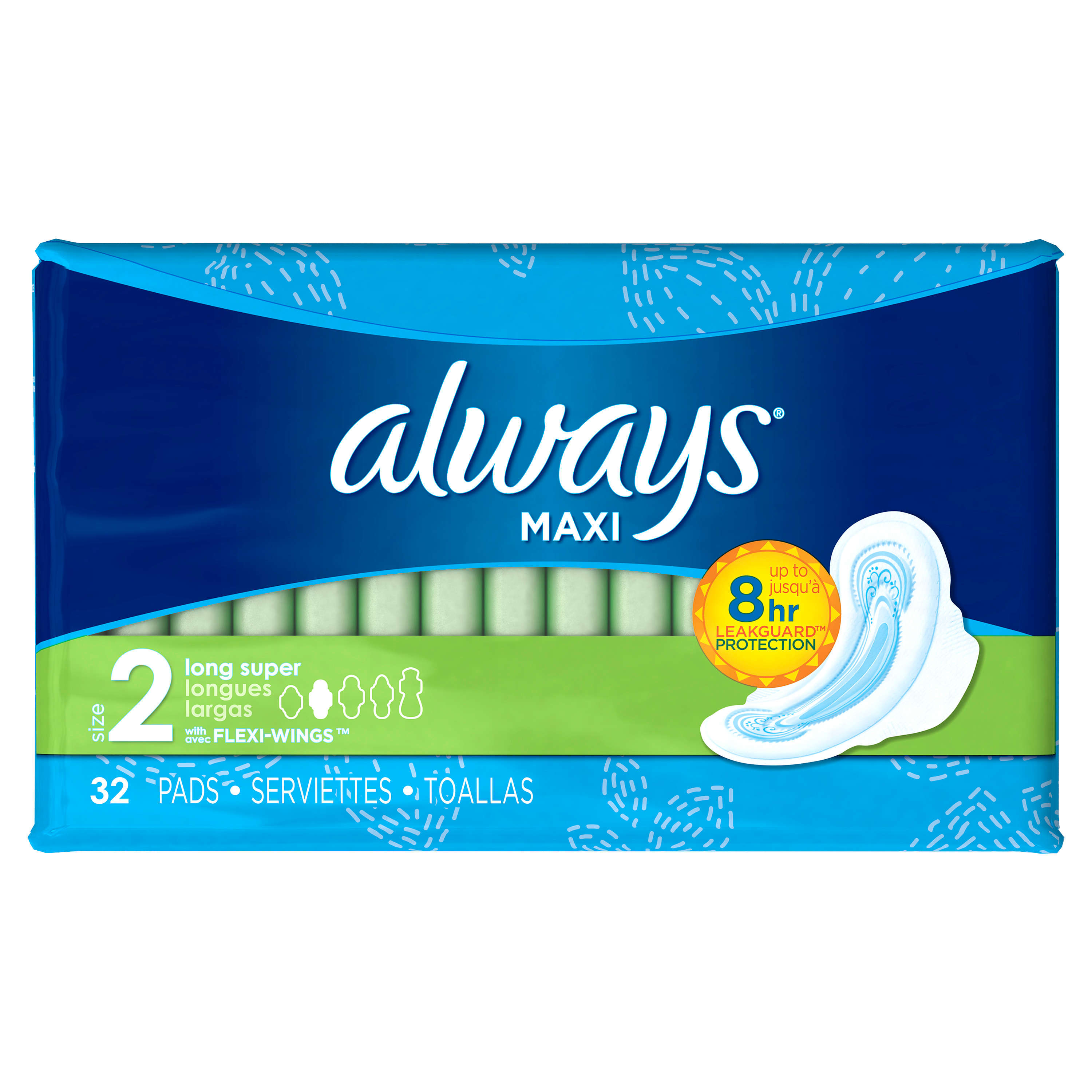 Always Maxi Size 2 Long Super Pads With Wings Unscented
