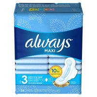 Always Maxi Size 3 Extra Long Super Pads with Wings Unscented