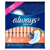Always Maxi Size 4 Overnight Pads with Wings Unscented