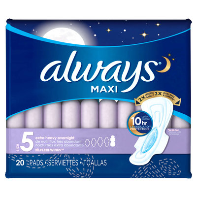 Always Maxi Size 5 Extra Heavy Overnight Pads with Wings Unscented