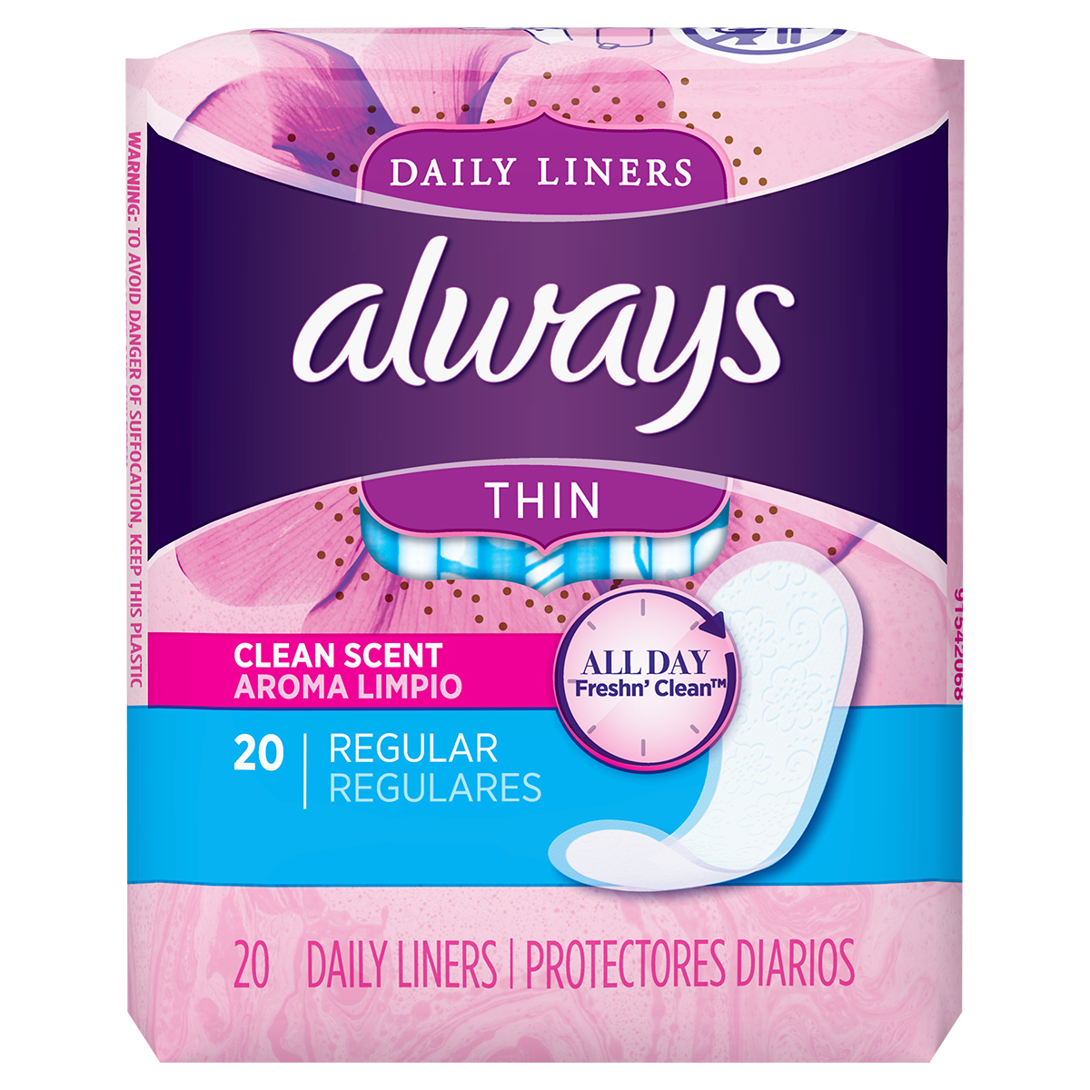 Always Thin Daily Liners Clean Scent