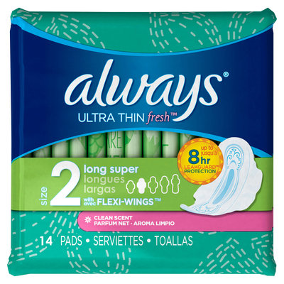 Always Ultra Thin Fresh Size 2 Long Super Pads With Wings Scented