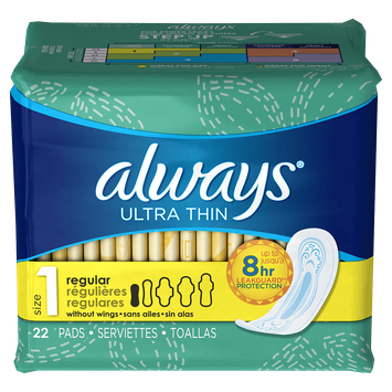 Always Ultra Thin Size 1 Regular Pads without Wings Unscented