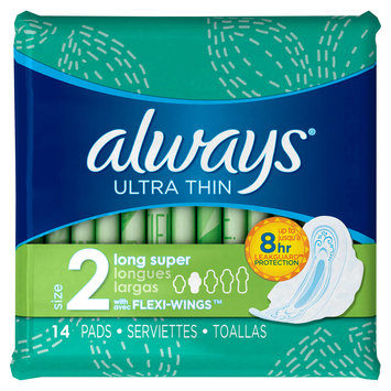 Always Ultra Thin Size 2 Long Super Pads With Wings Unscented