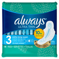 Always Ultra Thin Size 3 Extra Long Super Pads With Wings Unscented