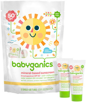 BabyGanics Cover Up Baby Sunscreen Lotion Single Use Tubes SPF 50