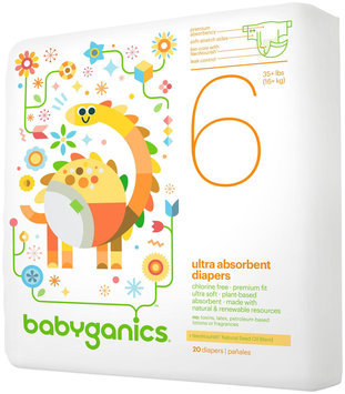 Babyganics Ultra Absorbent Diapers Jumbo Pack - 20 Count - Size 6