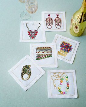 Kim Seybert Jewel Box Cocktail Napkins, 6-Piece Set