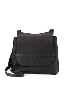 THE ROW Sideby Pebbled Calfskin Shoulder Bag, Black