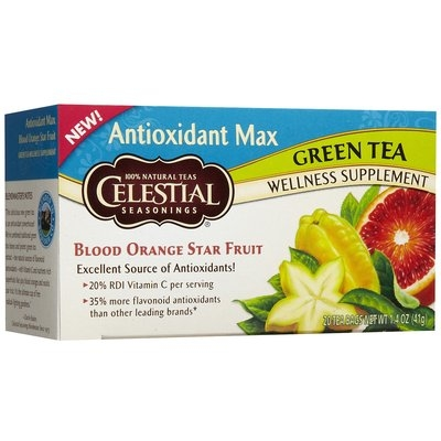 Celestial Seasonings Antiox Max, Blood Orange green tea Bags, 20 ct
