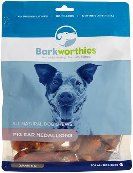 BARKWORTHIES Natural Pig Ear Medallions 12 Pack