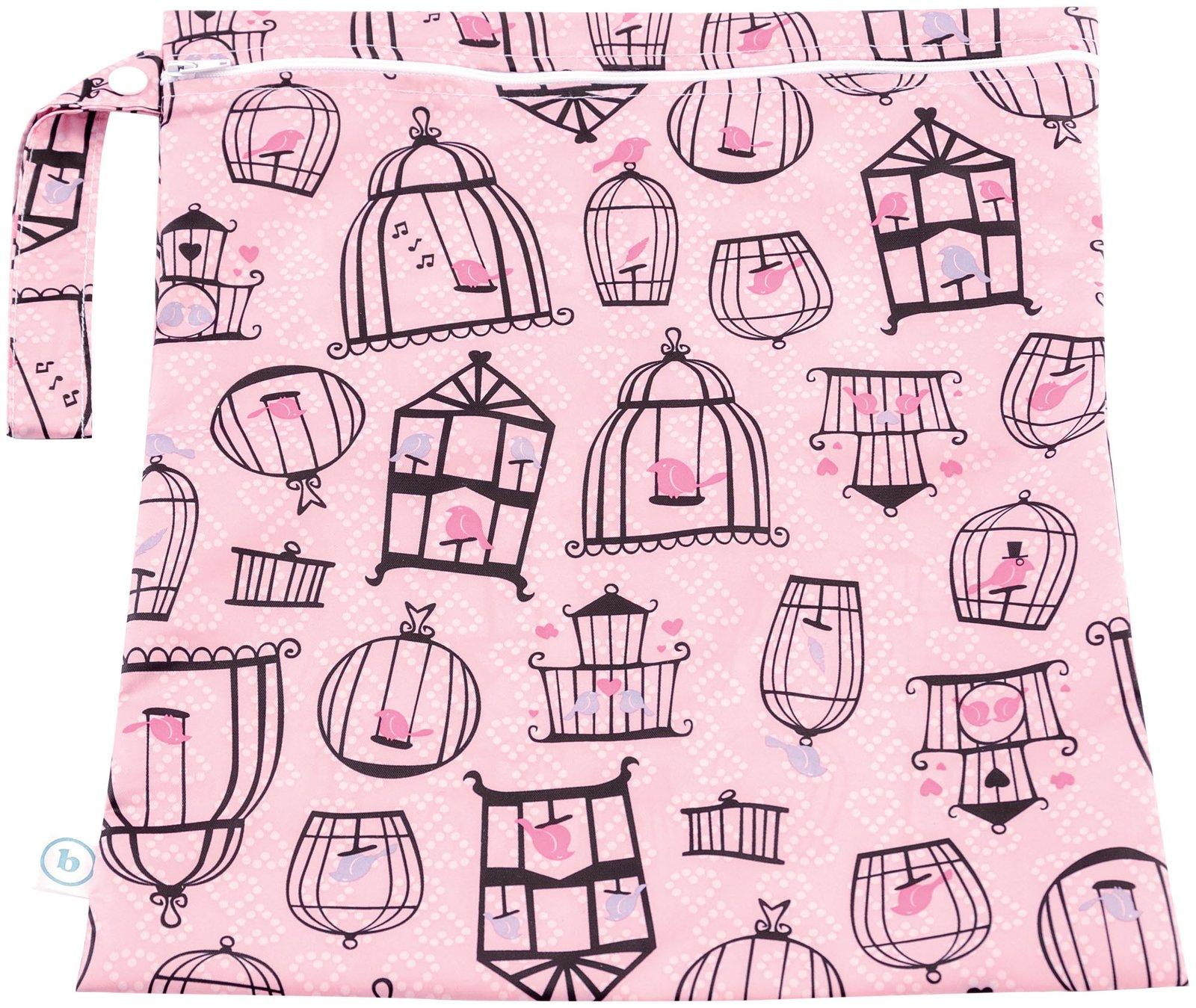 Bumkins Waterproof Zippered Wet Bag, Pink Tweet