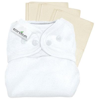 econobum Diaper Cover & Prefolds - White